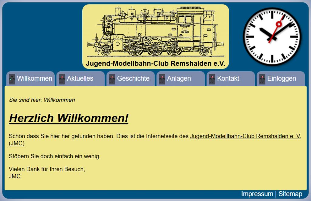 Screenshot unserer alte Webseite kurz vor dem Wechsel zum heutigen Stand (14.03.2019).